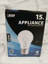 (4-Pack) Feit Fan Appliance A15 CLEAR Incandescent Light Bulbs 15W
