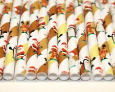 Christmas Characters Paper Straws (Ø 6mm, 200mm) - Pack Qty 25-500 - UK MADE