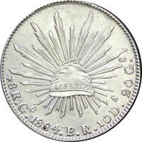 Mexico 8 Reales Go 1884 B.R. Guanajuato, UNC.  KM# 377.8