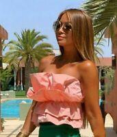 ZARA Pink / Peach VOLUMINOUS POPLIN TOP Blouse Size L Ref. 8072/201  SOLD OUT!