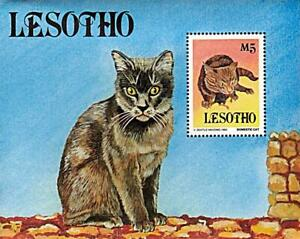 👉 LESOTHO 1993 Domestic CATS S/S MNH ** PETS, ANIMALS