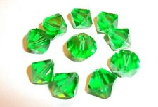 10 Pretty Faceted Green China Sea Crystal Beads - 10 mm