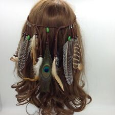 Gypsy Weave Hair Rope Headpieces Carnival Headband Peacock  Feather Headdress