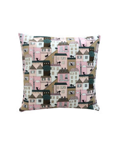 """16"""" Marsons Village Cats in Pink scatter cushion covers pillow sham made in UK"""