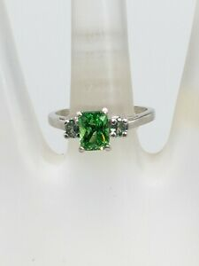 Designer $10,000 2.68ct Natural Tsavorite Garnet Alexandrite Platinum Ring