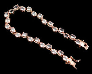 6x4 MM Natural Morganite Gemstone Jewelry 925 Sterling Silver Chunky Bracelet