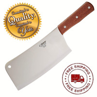 "Stainless Steel Chef Winco 8"" Heavy Duty Chinese Cleaver Wooden Handle Knife New"