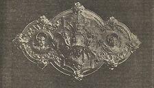 A4075 Fermaglio da pluviale - Incisione - Stampa Antica del 1888