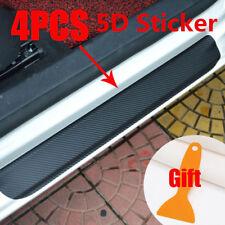5D Carbon Fiber Car Scuff Plate Door Sill Cover Panel Step Protector Vinyl Black