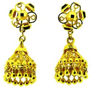 22kt yellow gold Asian stud / drop dangle earrings posts screw scrolls 5.4 grams