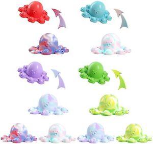 Pop It Octopus  Reversible Emotion Mood Reversible Octopus Plush UK Toy Flip