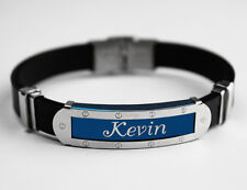 KEVIN - Mens Silicone & Blue Name Plate Engraved Bracelet - Fathers Day Gifts