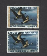 WV1 & WV1A - West Virginia First Of  State Duck Stamp. Singles. MNH. OG.