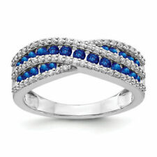 14k White Gold Diamond and Sapphire Ring Size 7