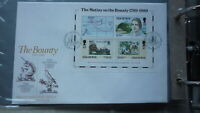 ISLE OF MAN STAMP ISSUE FDC, 1989 THE BOUNTY MUTINY SET OF 5 STAMPS MINISHEET