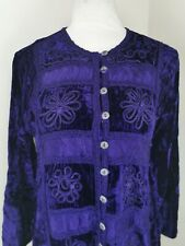 Wow Tunic One Size Women Purple Velvet Embroidered Buttons Up Long Sleeves