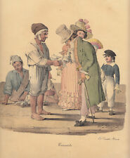 Il Pescivendolo, 1827  Morner Cuciniello e Bianchi lito acquarellata