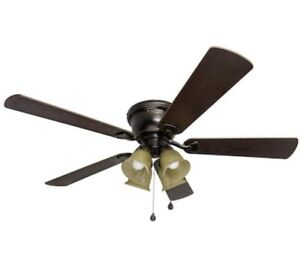 "Harbor Breeze, 52"" Oil Rubbed Bronze Ceiling Fan Marbleized Glass LED Light Kit"