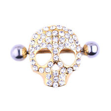 Gold/ Silver Skull Nipple Piercing Ring Rod Nail Nipple Ring Body Ring Punk Bars