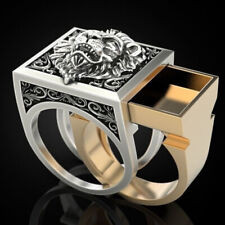 Fashion Lion Two Tone 925 Silver Rings for Men Party Ring Gift Size 7-13