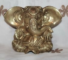 Kapasi Handicrafts Ganesha Sitting on a Dais Brass Idol