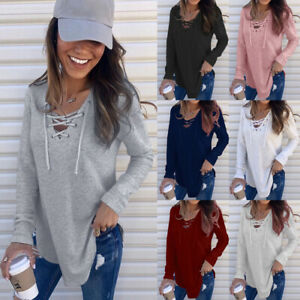 UK Womens Loose Blouse Tee Shirt Long Sleeve Pure Casual Ladies Strappy Tops