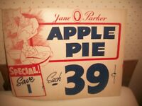 "Vtg Jane Parker APPLE PIE Store Window Sign *39 CENTS~SAVE A PENNY*14""x11"""