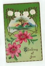 """Antique 1910 embossed """"Thinking of You"""" Post Card Pink Daisies White Roses Foil"""