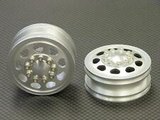 Tamiya 1/14 Truck Upgrade Parts Aluminum Front Wheel (9 Holes) - 1Pr Silver