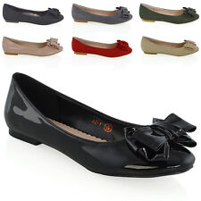 901427082 New Womens Ballerina Pumps Bow Ladies Loafers Smart Ballet Dolly Shoes Size  3-8