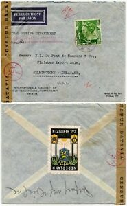 NEI AIRMAIL ONWARD AIR TRANSMISSION CENSORED via PHILIPPINES + GUAM to USA 1940