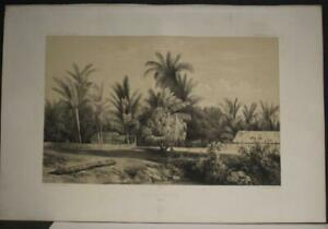 TAHITI NATIVE VILLAGE FRENCH POLYNESIA 1841 DUMONT D'URVILLE ANTIQUE VIEW