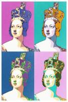 Queen Victoria Pink and Blue Pop Art Print Mural Poster 36x54 inch