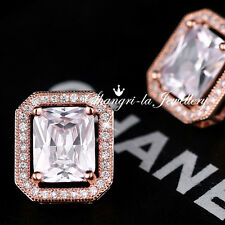 18K Rose GOLD GF Womens Stud CRYSTAL EARRINGS Swarovski DIAMOND K507-G WEDDING
