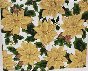 """Peva Vinyl Tablecloth 52"""" x 70"""" Oblong (4-6 ppl) YELLOW POINSETTIA FLOWERS, BH"""