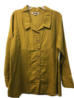 NWT Flax Linen Button-Down Green Jacket Tunic Top Long Sleeve S Lagenlook