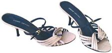 DKNY Straw Black Leather Slide Mules Patent Italy Heels   8 M US / 38.5 EU $179