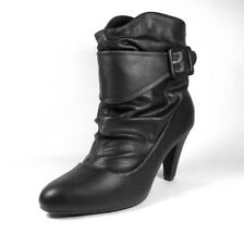 ELLA Womens Ladies Black Ruched Ankle  Boots Size 3 EU 36