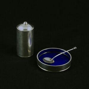 Georg Jensen Silver Salt Cellar with Spoon & Pepper Shaker #801 - Bernadotte