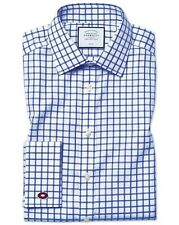 "Charles Tyrwhitt Classic Fit Non-Iron Twill Grid Check Royal 16"" TD192 AA 02"