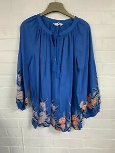 Ex Evans Blue Gypsy Style Top Dress Floral Size 18 (AR5.224)