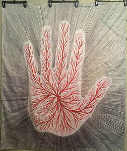 "NEW 60"" x 50"" Trippy Palmistry Flower Blood Vein Hand Tapestry Wall Decor w/Clip"