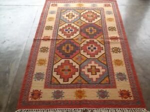 Hand Woven Wool Rug Turkish Kilim Dhurrie Afghan Oriental Area Rug 4X6 ft