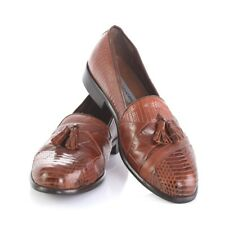 Stacy Adams Brown Genuine Snake Skin Leather Tassel Loafers Dress Shoes Mens 9 M