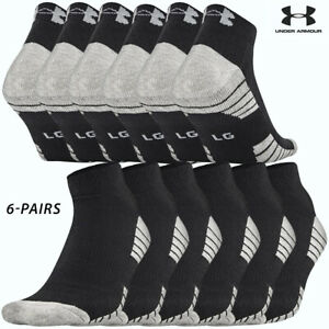 UA Socks: 6-PAIR HeatGear Tech Lo-cut (L) Black
