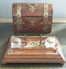 More details for superb antique gothic victorian domed top tea caddy & london patent inkstand.