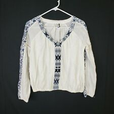 Akemi Kin Anthropologie Peasant Top Hippie Boho Size Small Womens Floral