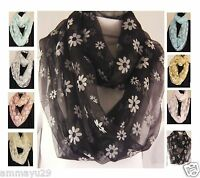 Womens Snood Scarf Infinity Loop Elegant Circle Summer Latest Daisy Lightweight