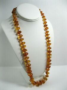 VINTAGE LONG HAND KNOTTED GRADUATING NUGGET BEAD BALTIC HONEY AMBER NECKLACE