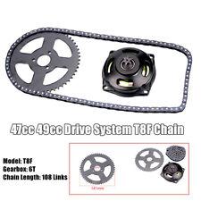 Mini Pocket Bike 47cc 49cc Drive System T8F Chain And 6T Gear Box Rear Sprocket